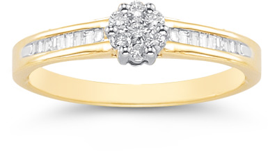 0.25 Carat Round and Baguette Diamond Cluster Ring in 14K Gold
