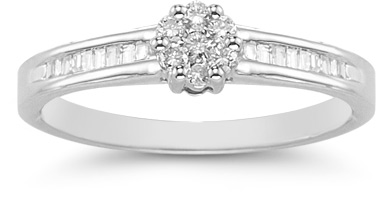 0.25 Carat Round and Baguette Diamond Cluster Ring in 14K White Gold