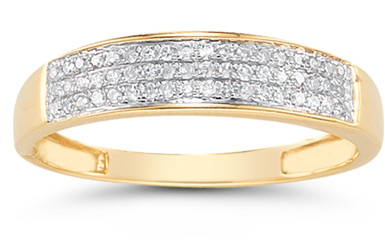 Domed Women's Diamond Wedding Band in 14K Gold