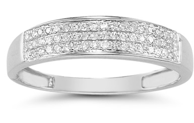 Domed Women's Diamond Wedding Band in 14K White Gold