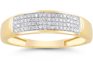 Mens' 1/4 Carat Diamond Wedding Band in 14K Yellow Gold