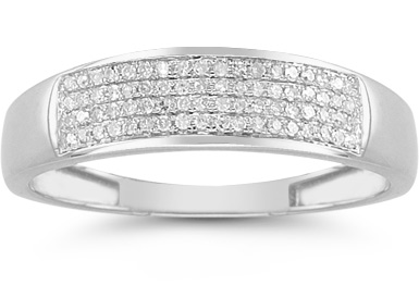 Buy Men's 1/4 Carat Diamond Wedding Band in 14K White Gold