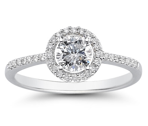 3/4 Carat Diamond Circle Halo Ring in 14K White Gold