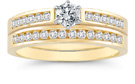1/2 Carat Diamond Wedding Ring Set, 14K Yellow Gold