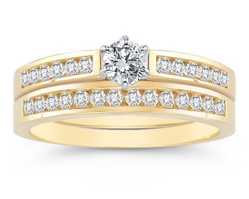 1/2 Carat Diamond Wedding Ring Set, 14K Yellow Gold (Rings, Apples of Gold)