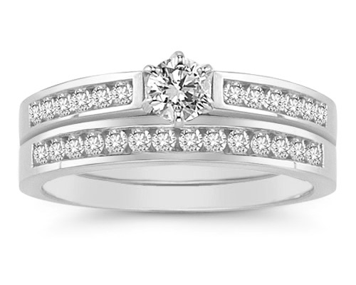 1/2 Carat Diamond Wedding Ring Set in 14K White Gold