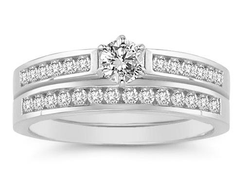 1/2 Carat Diamond Wedding Ring Set in 14K White Gold