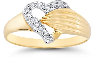 Diamond Wrap Heart Ring in 14K Yellow Gold