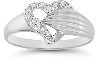 Diamond Wrap Heart Ring in 14K White Gold