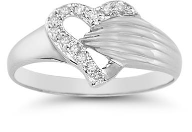 Diamond Wrap Heart Ring in 14K White Gold