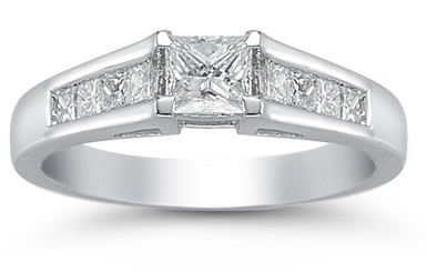 0.85 Carat 9 Stone Princess Cut Diamond Ring (Rings, Apples of Gold)