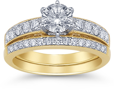 1.30 Carat Diamond Bridal Wedding Set in 14K Gold (Rings, Apples of Gold)