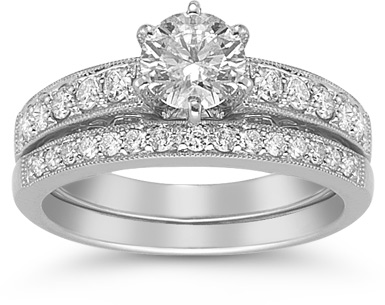 1.30 Carat Diamond Bridal Wedding Set (Rings, Apples of Gold)