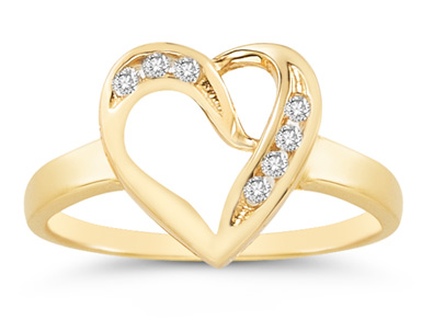 7 Stone Diamond Heart Ring in 14K Yellow Gold