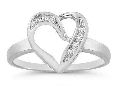 Buy 7 Stone Diamond Heart Ring in 14K White Gold