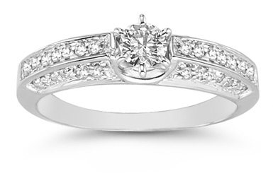 0.65 Carat Opulent Diamond Ring in 14K White Gold