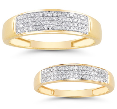 0.38 Carat Diamond Wedding Band Set in 14K Gold