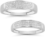 0.38 Carat Diamond Wedding Band Set in 14K White Gold