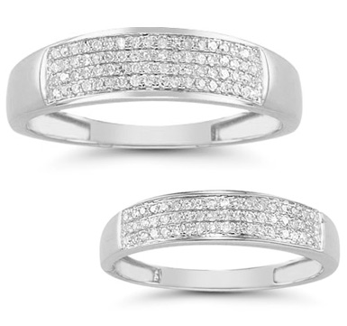 0.38 Carat Diamond Wedding Band Set in 14K White Gold (Rings, Apples of Gold)
