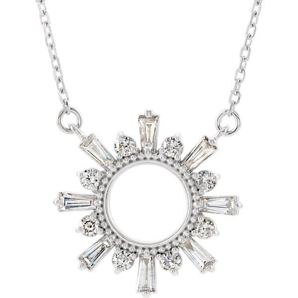 Diamond Sun Circle Necklace in 14K White Gold
