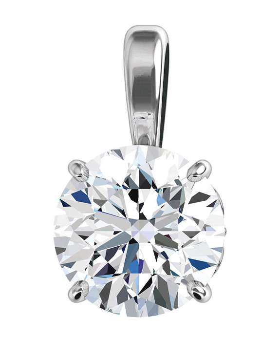 0.75 Carat Fleur-de-Lis Diamond Solitaire Necklace, 14K White Gold