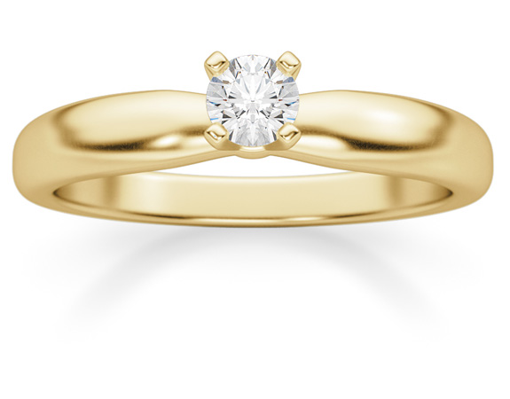 0.15 Carat Diamond Solitaire Ring, 14K Yellow Gold