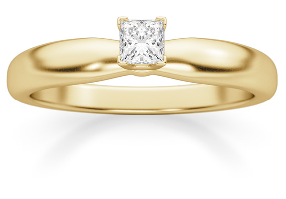1/6 Carat Princess Cut Diamond Solitaire Ring, 14K Gold