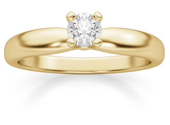 0.20 Carat Diamond Solitaire Ring, 14K Yellow Gold