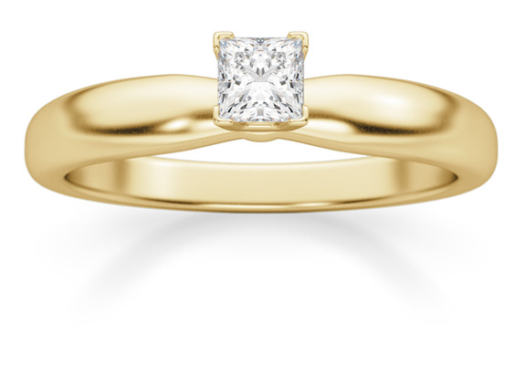 1/5 Carat Princess Cut Diamond Solitaire Ring, 14K Gold