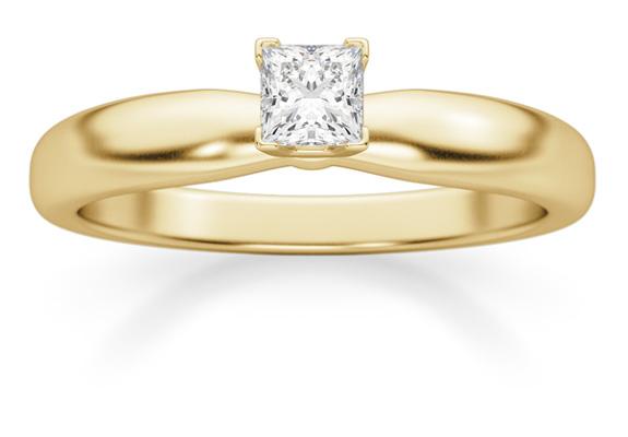 1/5 Carat Princess Cut Diamond Solitaire Ring, 14K Gold