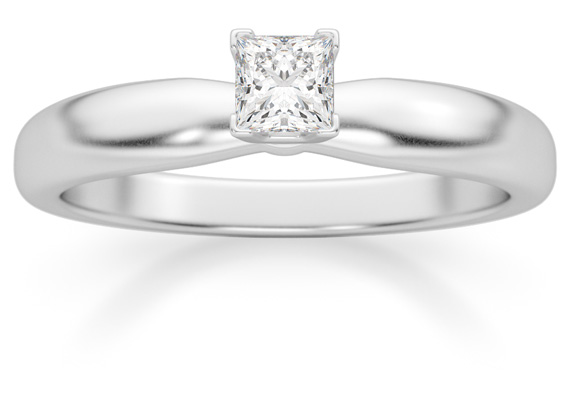 0.20 Carat Princess Cut Diamond Solitaire Ring, 14K White Gold