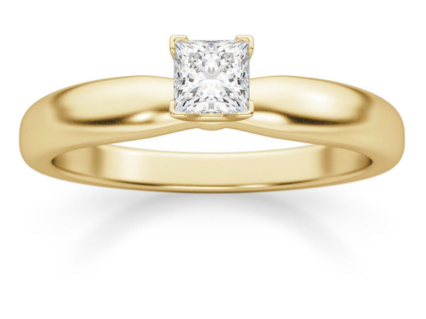 1/4 Carat Princess Cut Diamond Solitaire Ring, 14K Gold