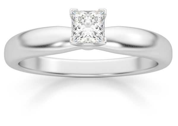 0.33 Carat Princess Cut Diamond Solitaire Ring, 14K White Gold