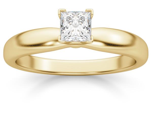 1/3 Carat Princess Cut Diamond Solitaire Ring, 14K Gold