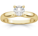 0.50 Carat Round Diamond Solitaire Ring, 14K Yellow Gold