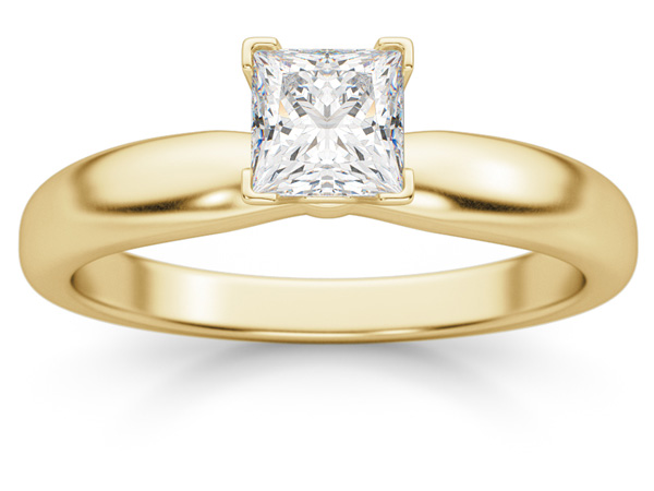 1/2 Carat Princess Cut Diamond Solitaire Ring, 14K Gold
