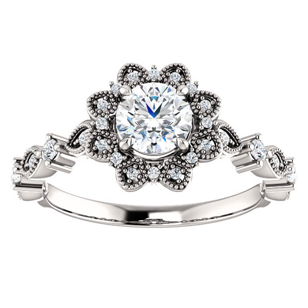 3/4 Carat Aster Flower Diamond Engagement Ring, 14K White Gold