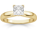 3/4 Carat Princess Cut Diamond Solitaire Ring, 14K Gold