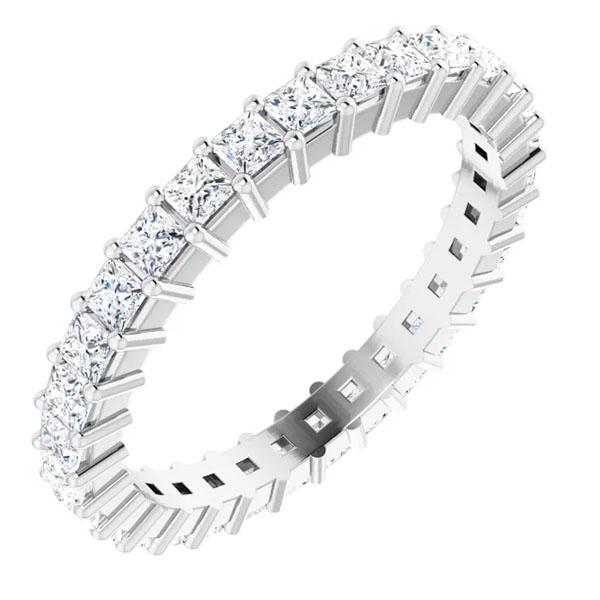 1 1/2 carat princess-cut diamond eternity band, 14k white gold