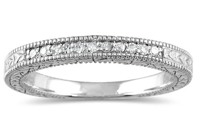1/10 Carat Engraved Diamond Wedding Band in 10K White Gold