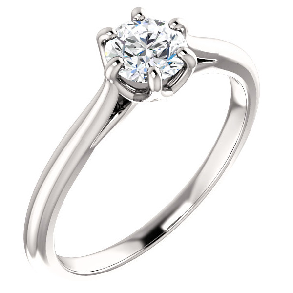 1/2 Carat Designer 6-Prong Diamond Solitaire Engagement Ring