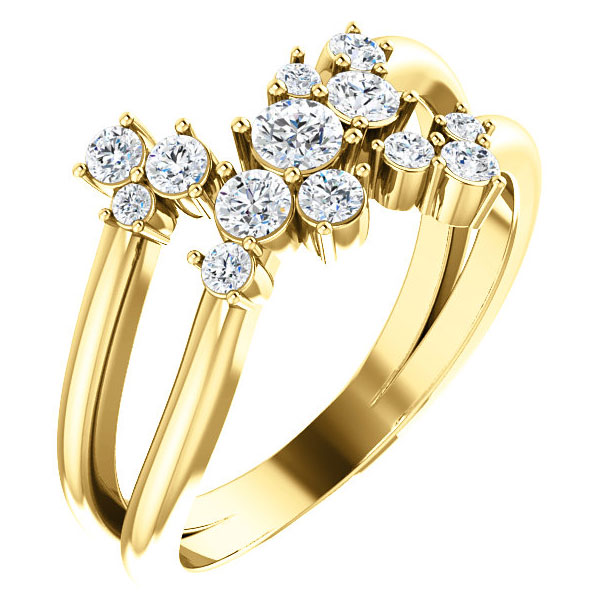 1/2 Carat Diamond Cluster Ring with Shared Prong, 14K Gold