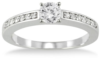 1/2 Carat Diamond Engagement Ring, 10K White Gold
