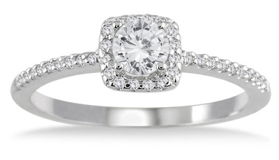 1/2 Carat Diamond Halo Engagement Ring, 10K White Gold