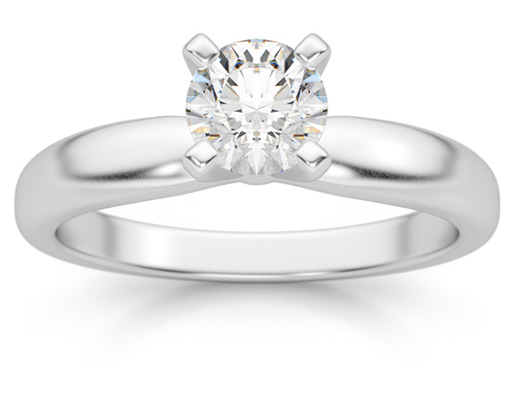 1/2 Carat Diamond Solitaire Ring, 14K White Gold