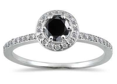 1/2 Carat Halo Black and White Diamond Ring in 14K White Gold