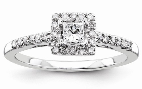 1/2 Carat Square Princess-Cut Diamond Engagement Ring