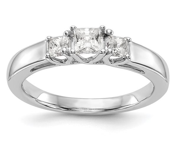 1/2 Carat Three-Stone Princess-Cut Diamond Engagement Ring, 14K White Gold