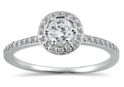 1/2 Carat Total Halo Diamond Ring in 14K White Gold