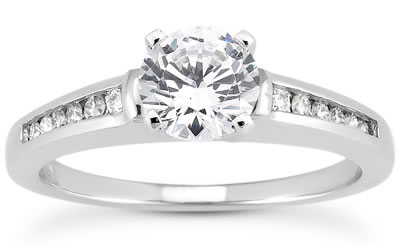 1/3 Carat Diamond Ring with Side Stones in 10k White Gold